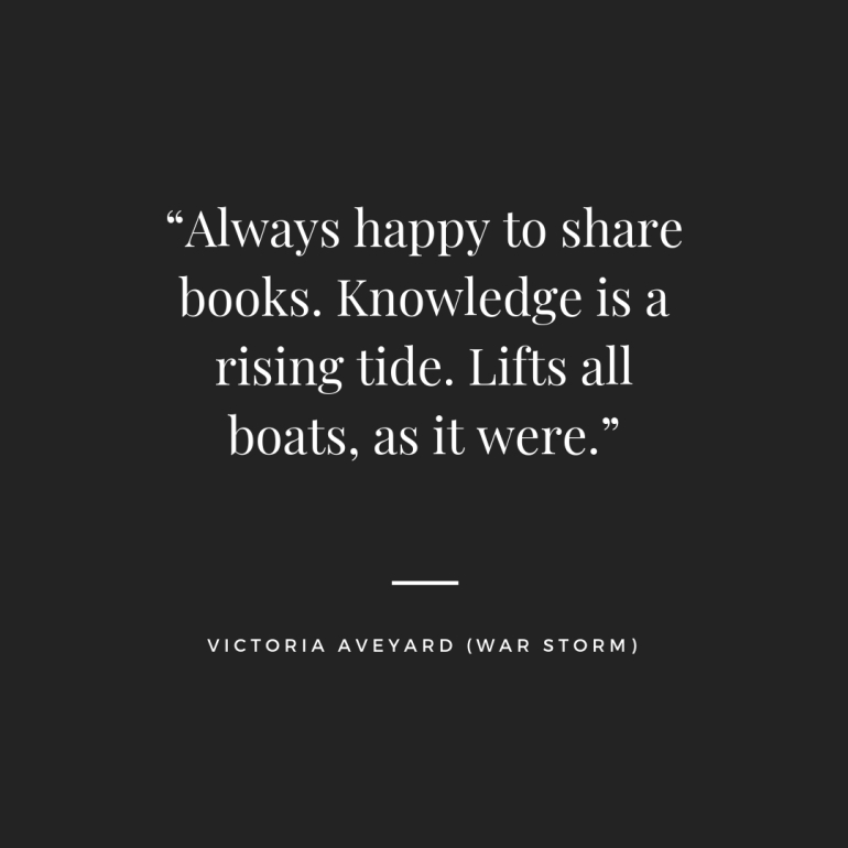 """Always happy to share books. Knowledge is a rising tide. Lifts all boats, as it were."""