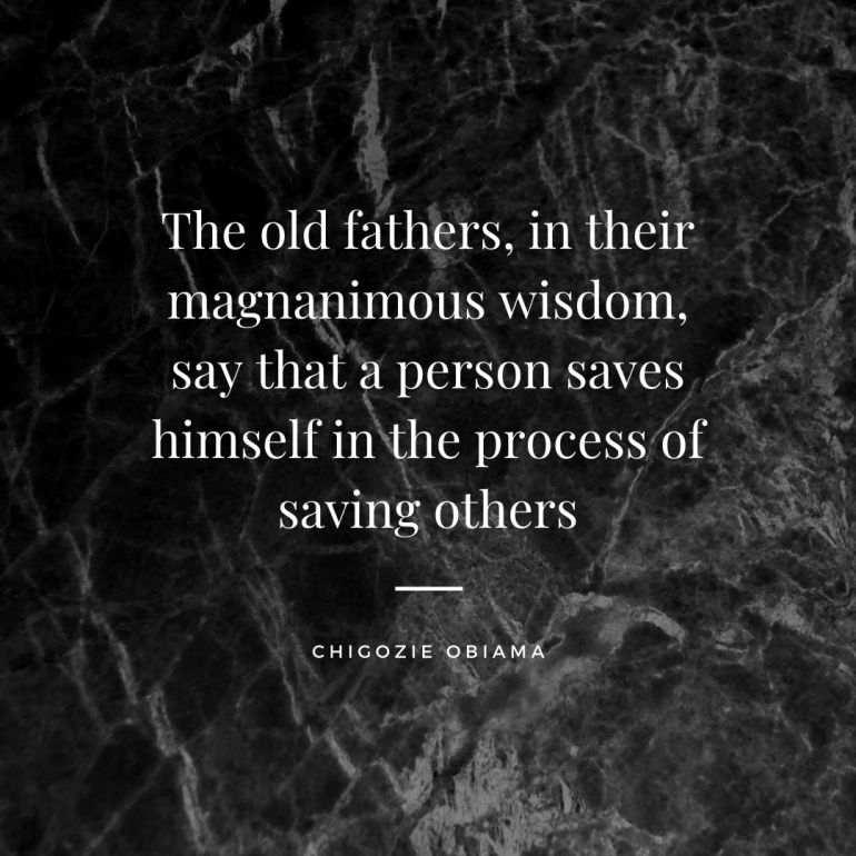 The old fathers, in their magnanimous wisdom, say that a person saves himself in the process of saving others
